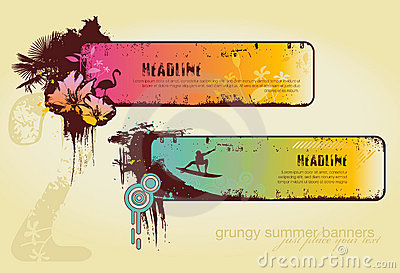 Grungy summer banners
