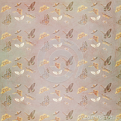 Grungy textured vintage butterfly pattern background