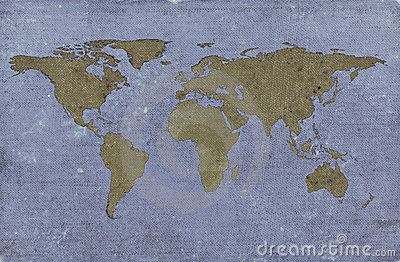Grungy textured world map
