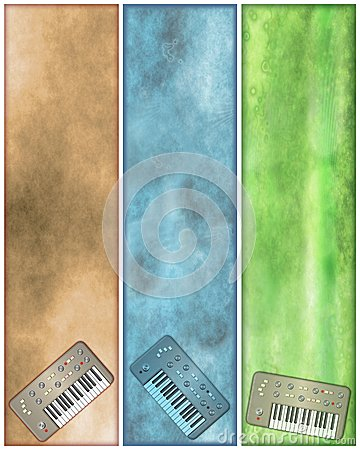 Grungy Vertical Retro Synth Banners