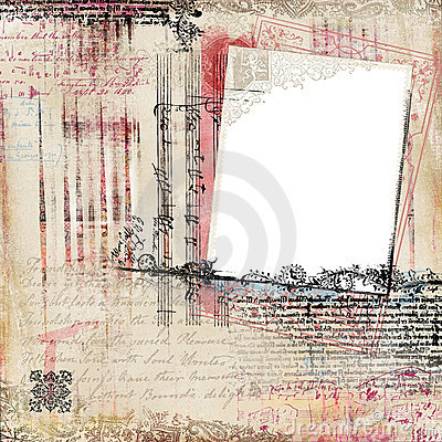 Free Grungy Vintage Floral Damask Scrapbook Frame Royalty Free Stock Photo - 14191625