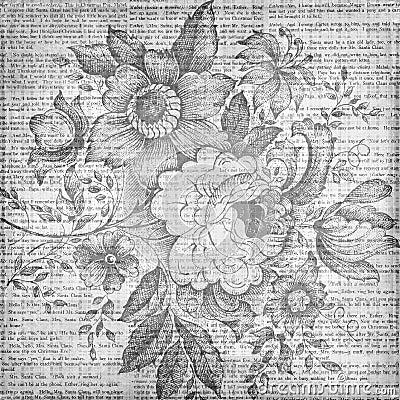 Grungy vintage floral texture background