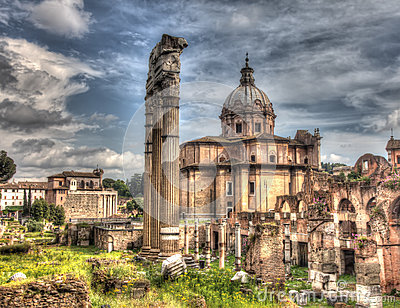 Grungy vintage picture of Trajan s Forum in Rome