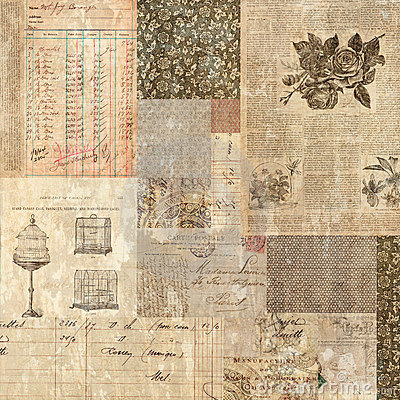 Grungy vintage postcard ephemera collage backgroun
