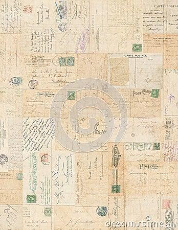 Free Grungy Vintage Postcard Ephemera Collage Backgroun Stock Photography - 21746852
