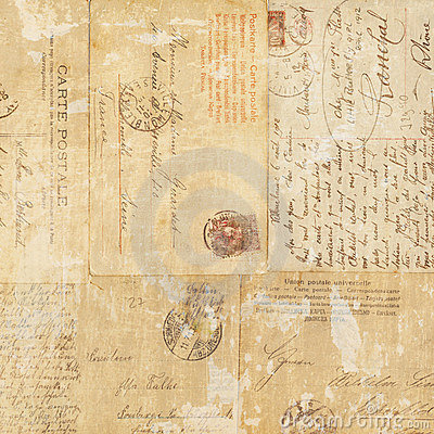 Free Grungy Vintage Postcard Ephemera Collage Background Royalty Free Stock Photography - 20986907