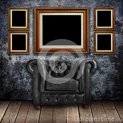 Free Grungy Wall With Classic Brown Leather Armchair And Old Wood Royalty Free Stock Photography - 26118857