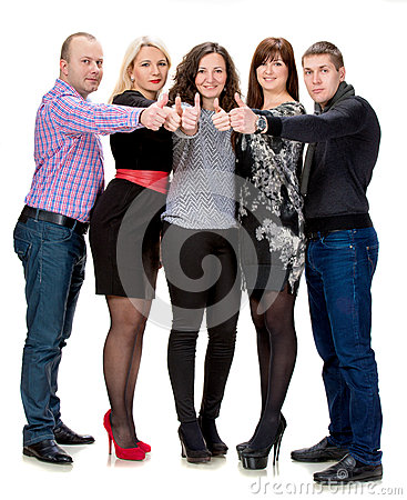 Grupa szczęśliwi ludzie biznesu