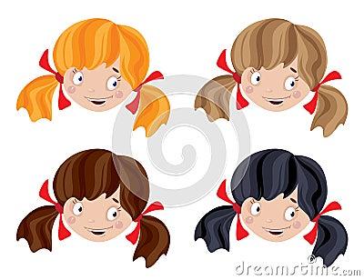 Grupo da menina engraçada principal