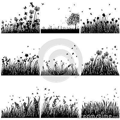 Grupo da silhueta da grama