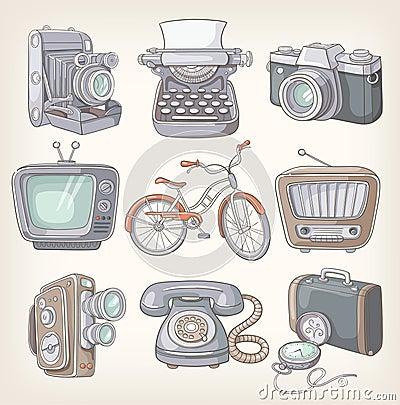 Grupo de artigos do vintage