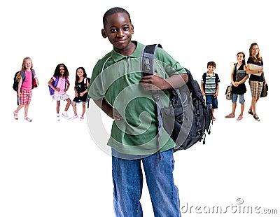 Grupo de cabritos de la escuela