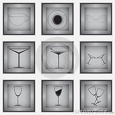 Grupo de 9 ícones de vidro