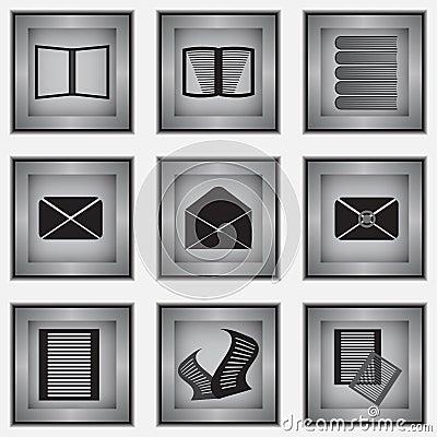 Grupo de 9 ícones dos artigos de papelaria