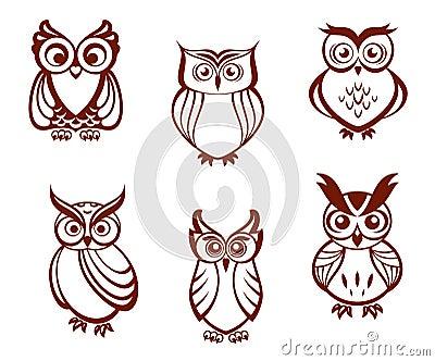 Grupo de corujas dos desenhos animados