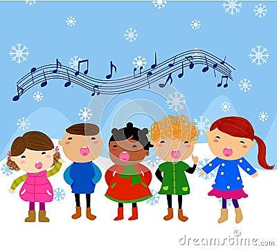 Grupo de crianças que cantam
