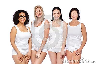 Grupo de diversas mujeres felices en la ropa interior blanca foto de archivo imagen 71129347 - Fotografias de mujeres en ropa interior ...