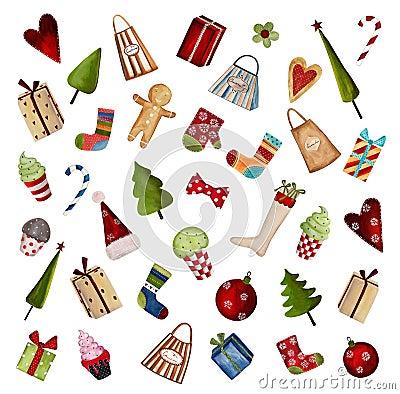 Grupo de elementos decorativos do Natal