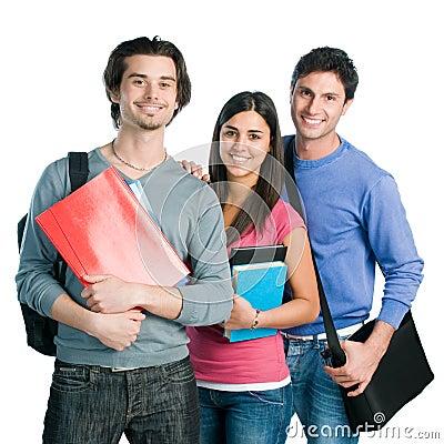 Grupo de estudantes de sorriso feliz