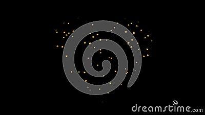 Grupo de fogos-de-artifício do ouro na forma do corações Alpha Channel video estoque