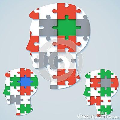 Grupo de imagens de um rosto humano no formulário um enigma de serra de vaivém