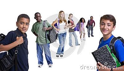 Grupo de miúdos da escola