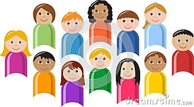 Grupo diverso de crianças