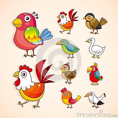 Grupo do ícone do pássaro dos desenhos animados