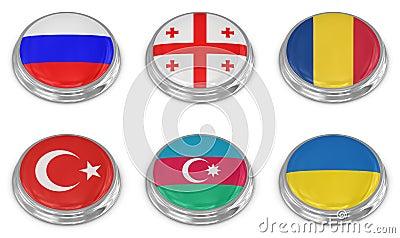Grupo do ícone da bandeira da nação