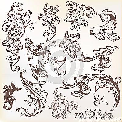 Grupo do vetor de elementos do redemoinho do vintage para o projeto
