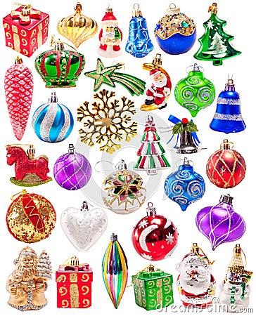 Grupo grande das decorações coloridas do ano novo