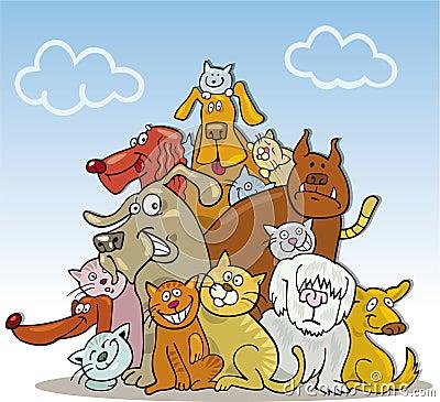 Grupo grande de gatos y de perros