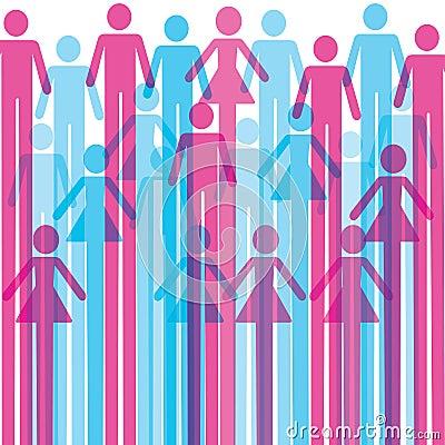 Grupp av färgrik manlig och kvinnlig symbolsbakgrund