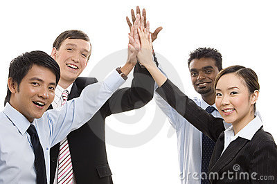 Gruppen-Geschäft - hohe fünf