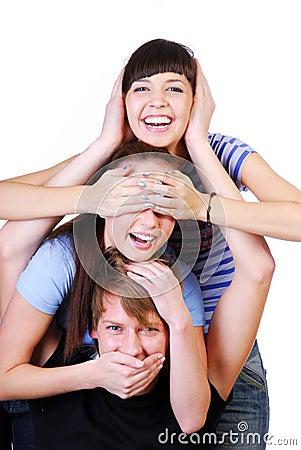 Gruppo allegro dell adolescente