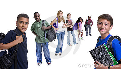 Gruppo di bambini del banco