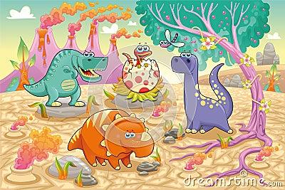 Gruppo di dinosauri divertenti in un landscap preistorico