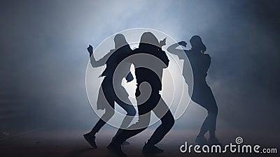 Gruppo di giovani ballerini femminili sulla via alla notte archivi video