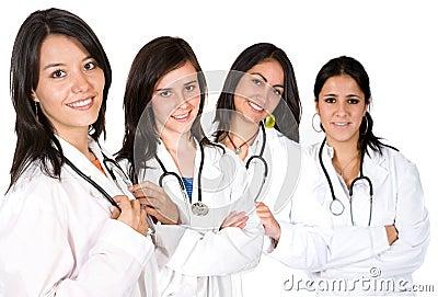 Gruppo di medici con le femmine soltanto