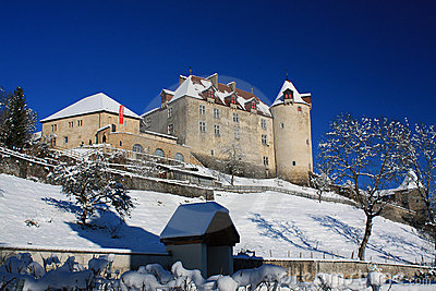 Gruyere Castle in winter, Switzerland