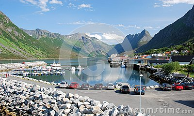 Norway, Gryllefjord, Port with a view of the fjord Editorial Stock Photo