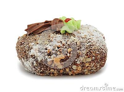 Gâteau crème «pomme de terre avec de la crème», d isolement