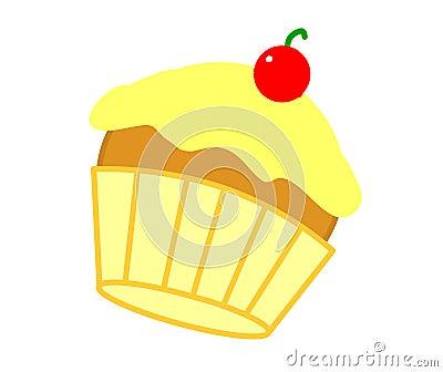 Gâteau jaune de cerise