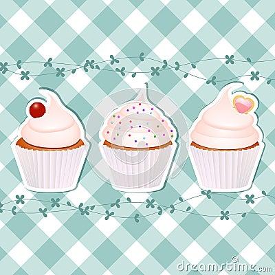 Gâteaux sur le guingan bleu