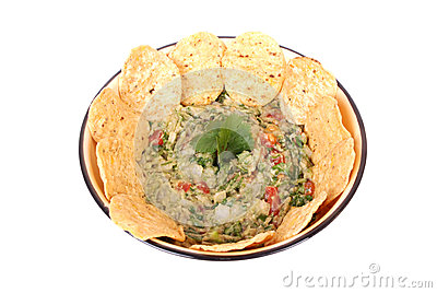 Guacamole dip with nachos