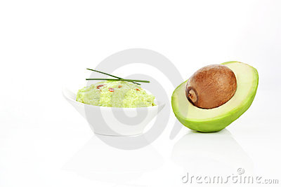 Guacamole sauce and avocado isolated.