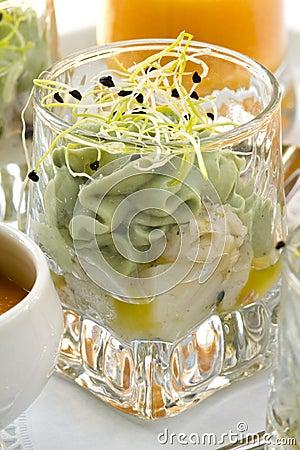 Guacamole with scallops.