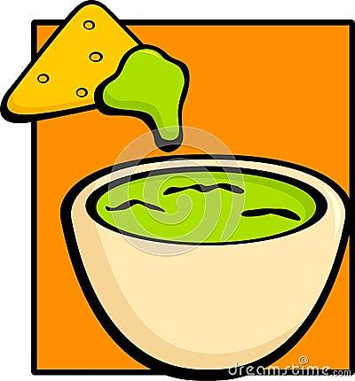 Guacamole and tortilla chip