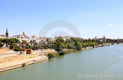 Guadalquivir River through Seville, Spain
