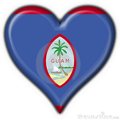 Guam button flag heart shape